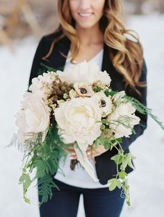 Taupe Bouquet | Photography: Ashley Sawtelle - ashleysawtelle.com #TaupeWeddings Read More: http://www.stylemepretty.com/2015/02/24/snowy-red-rocks-winter-engagement-session/