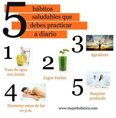 ¿Te interesa aplicar un estilo de vida sano?  Pues empieza por pequeños hábitos que hacen la gran diferencia!  Descubre en detalle porque estos 5 hábitos te pueden mejorar la vida: http://mujerholistica.com/5-habitos-saludables-que-debes-practicar-a-diario/
