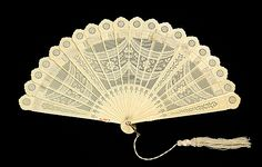 Brisé Fan Made Of Bone, Silk, Mother-Of-Pearl And Metal - Possibly Chinese    c. 1870-1890