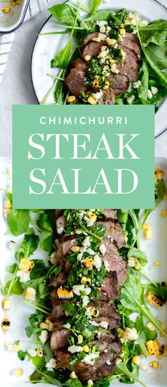 Try out this chimichurri steak salad from Broma Bakery, and get 20 more amazing recipes using fresh corn here. Fresh Corn Recipes, Summer Recipes, Clean Eating, Healthy Eating, Healthy Food, High Protein Dinner, Broma Bakery, Soup And Salad, Salad Bar