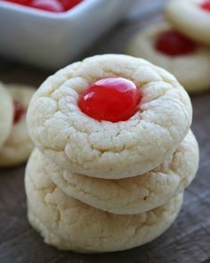 Cherry Almond Christmas Cookies - My Recipe Magic These little cookies make the most perfect holiday treat for friends and family. Italian Christmas Cookies, Italian Cookies, Christmas Desserts, Holiday Treats, Christmas Baking, Holiday Recipes, Christmas Treats, Christmas Goodies, Holiday Candy