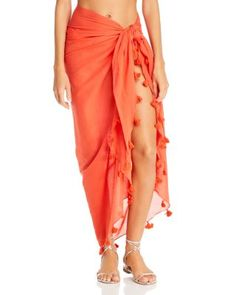 Fraas Tassel Cotton Pareo Wrap Women - Swimsuits & Cover-Ups - Bloomingdale's Cruise Wear, Swimsuit Cover Ups, Women Swimsuits, Tie Dye Skirt, Tassels, Coral, Skirts, Cotton, How To Wear