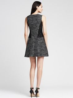 Tweed Lace Panel Fit-and-Flare Dress | Banana Republic