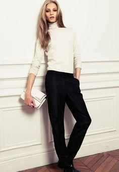 Mango fw 2012: Winter White Turtleneck + Black Trousers + White clutch. Simple elegance.