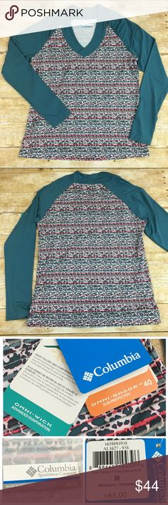 """🆕COLUMBIA Long Sleeve Shirt - NWT NWT - Columbia Long Sleeve Shirt with Omni-Wick Advanced Evaporation and Omni-Shade Sun Protection UPF 40,   🌺Size - Medium          Chest - 36.5""""         Waist - 28.5"""" 🌺Color - Teal  **** Please note 4th picture is for styling purpose only Columbia Tops"""