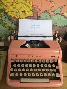 Stunning 1956 Pink Royal typewriter - fully restored! Royal Typewriter, Jump Over, Vintage Typewriters, Restoration, Empire, Quotes, Books, Pink, Frases