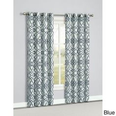Norris 84-inch Grommet Top Curtain Panel Pair | Overstock.com I like these for the family room with sheer behind them
