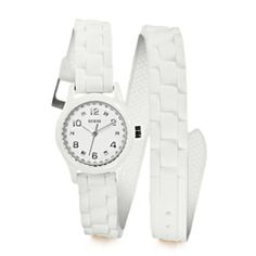 @Overstock - Accent any outfit with a touch of style with this GUESS Women's Diminutive Color Pop Double Wrap Watch. This timepiece features a white dial with silvertone hands and a double wrap, white silicon strap.http://www.overstock.com/Jewelry-Watches/GUESS-Womens-Diminutive-Color-Pop-Double-Wrap-Watch/6852913/product.html?CID=214117 $77.99