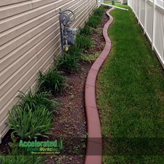Consider adding a pop of color to your concrete curb edging. It adds a nice visual contrast between the grass and plantings.