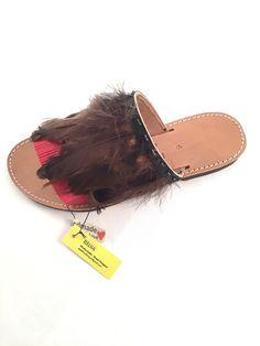 "Leather Sandals ""Marianthi"" (Handmade to order) wedding / summer night / gift sandal / feathers / boho / unique / bridsmaid sandals / luxury by BlissDesigners on Etsy"