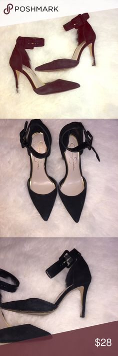 Jessica Simpson heels Black ankle strap Jessica Simpson heels. Suede, pointed toe. In good condition. Jessica Simpson Shoes Heels