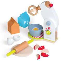 Description Cook and bake with delight with the Janod blender set. The blender features on-off and speed buttons, a hinged arm to access the removable bowl for mixing and wooden food accessories such as milk and hot chocolate cartons, eggs that crack open, fruit pieces, rolling pin and pretend batter. Great for the budding culinary expert in the house. Other matching items available in this range include appliances, cutlery, utensils and even a kitchen.   All Janod toys are designed in ...
