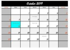 Five October 2019 Calendar with Holidays USA, Welcome back to our website. On this occasion we will provide a calendar design or template in October 2019 with a holiday in the USA. October Calendar, Halloween Celebration, Calendar Design, Public, Printables, Social Media, Templates, Holidays