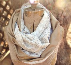 Another PaleDesign custom order complete! Vintage ivory lace infinity scarf by PaleDesign, $29.00
