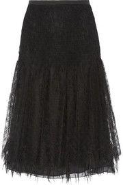 Paneled silk-lace and twill midi skirt