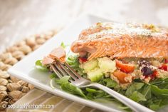 #Healthy baked lemon dill #salmon and Greek #quinoa recipe on No Place Lyke Home