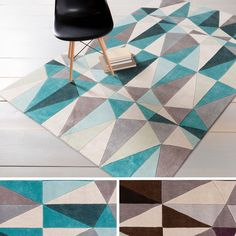 This one of a kind rug will be the perfect accessory to add the finishing touch to your décor. Hand-tufted with polyester, this contemporary rug features a geometric design that will add pops of color to your space.