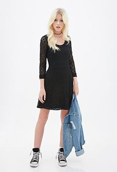 Geo Lace Fit & Flare Dress | Forever 21 Canada