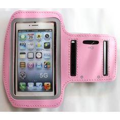 Apple iPhone 5 vaaleanpunainen käsivarsikotelo.