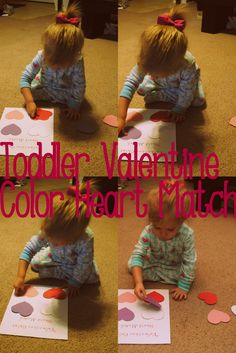 learning basic colors and heart shape with toddlers using valentine theme.