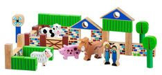 This beautifully handcrafted farm play set has all the favourites – pig, cow, sheep and donkey. Children can construct their own farm buildings and play for hou