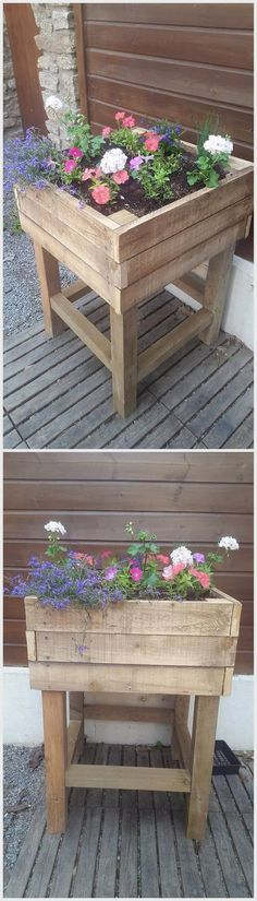 Genius Ideas for Wooden Pallet Recreations Old Wood Pallet Planter Box The post Genius Ideas for Wooden Pallet Recreations appeared first on Pallet Diy. Wood Pallet Planters, Wooden Pallet Crafts, Diy Planter Box, Diy Pallet Furniture, Diy Wood Projects, Garden Projects, Garden Furniture, Tree Planters, Pallet Bench
