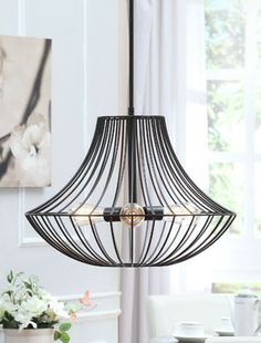 Renate 3-light Distressed Iron Black Wire Chandelier contemporary chandeliers