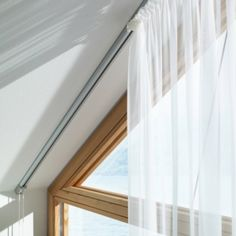 Picking window coverings for an attic room can be a real challenge. Luckily, we have some beautiful curtain ideas to inspire you. Check them out! Drapes Curtains, Curtains, Living Room Diy, Window Design, Windows, Beautiful Curtains, Window Coverings, Attic Rooms, Gable Window