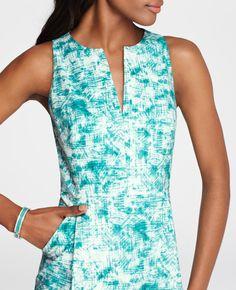 Ann Taylor - AT Dresses - Cotton Sateen Sunbaked Illusion Print Split Neck Sheath Dress
