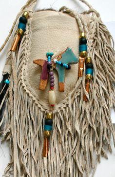 Native Horse Deerskin Leather Medicine Bag Totem by JillClaireArt, $160.00