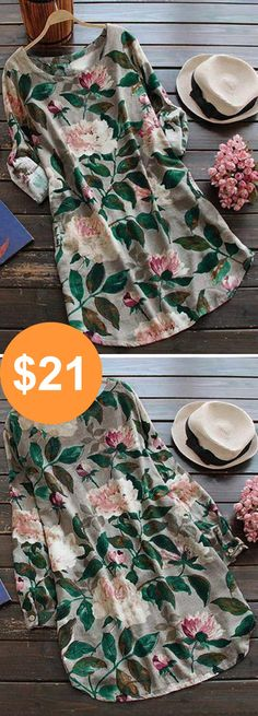 Holiday Sale, $21! Easy Return+Refund & free shipping. It is time for peony bloom! This floral print dress with adjustable sleeve&side pockets will radiate vigor of your world!