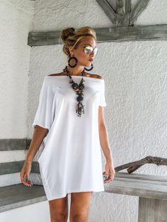 Blanco asimétrico vestido blusa túnica / por SynthiaCouture