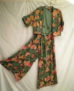 Fabulous 1930s Vintage Pajama Jumpsuit Art Deco Flamenco Dancer Print | eBay