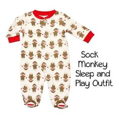 Sock Monkey Baby Sleep and Play Outfit