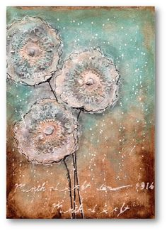 dandelion mixed media painting
