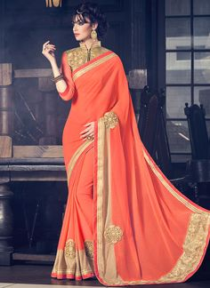 Latest Orange Embroidered Work Fancy Fabric Classic Designer Saree