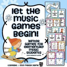 "Let the Music Games Begin! Fun winter games to use with one student, a group, in the classroom, music camp, and more! This file contains two complete sets of game cards: *A full set of full color cards *A full set of partial color ink-friendly cards. The sets are divided into six ""winter sporting events"" and include: *16 cards in each set (that's 96 cards per set!) *One page containing the backs of the cards *A winter game board #music #piano #musiced #games #winter #olympics"