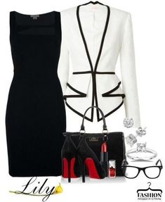 Black and white work fashion attire Classy Outfits, Chic Outfits, Fashion Outfits, Fashion Trends, Work Outfits, Work Dresses, Blazer Fashion, School Outfits, Womens Fashion
