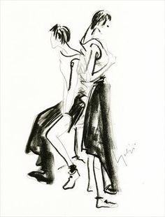 Yohji Yamamoto lithographic drawing