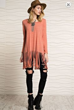 Hoping To Be With You Fringe Top - Rust from Chocolate Shoe Boutique