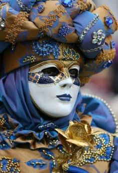 Cottage Charm ~ Blue and Gold ~ Beautiful Carnival Mask