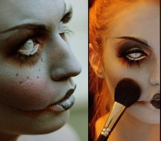Dead Doll Halloween makeup one of my favorites Halloween Looks, Halloween Kostüm, Halloween Cosplay, Holidays Halloween, Halloween Costumes, Creepy Doll Costume, Creepy Doll Makeup, Creepy Clown, Clown Makeup