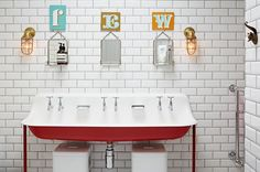 Kohler Brockway Wash Sink with Drillings for Three Faucets - Vintage - bathroom - Godrich Interiors Eclectic Bathroom, Modern Bathroom Design, Bathroom Interior Design, Colorful Bathroom, Bath Design, Modern Design, Bad Inspiration, Bathroom Inspiration, Bathroom Kids