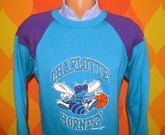 vintage 90s sweatshirt charlotte HORNETS nba basketball defunct north carolina raglan crewneck sweater Small Medium bobcats. $27.00, via Etsy.