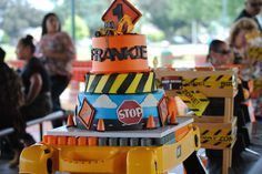 Construction birthday party cake!  See more party planning ideas at CatchMyParty.com!