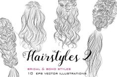 Hairstyles vector illustrations 2 by colorshop on @creativemarket