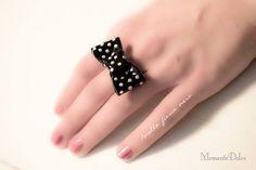 Black bow ring clay- jewerly idea handmade