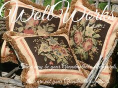 Salvaged Vintage Needlepoint Pillow slips www.WollWorks.com