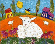 Alphonso le mouton par Isabelle Malo • Acrylique sur toile et collage • Mixed media • Folk art  • www.isamalo.com • Artiste peintre du Québec •Art naïf
