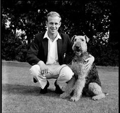 Kent cricketer Derek Underwood with his Airedale terrier, named 'Rustler', circa 1965.